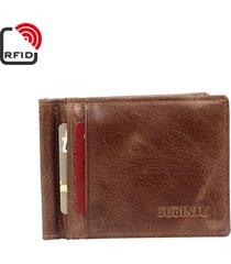 rfid antimagetic vera pelle bifold wallet 8 card slot casual vintage card pack purse per gli uomini