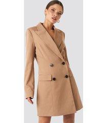 na-kd classic wide lapel blazer dress - brown