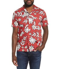 men's ted baker london floral short sleeve button-up camp shirt