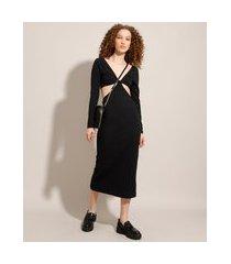 vestido canelado com vazado midi manga longa preto