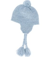 il gufo tassel tie knitted hat - blue