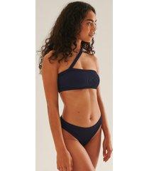 na-kd swimwear ribbstickad bikinitrosa med medium midja och dragsko - navy