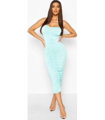 clear strap ruched slinky mini dress, turquoise
