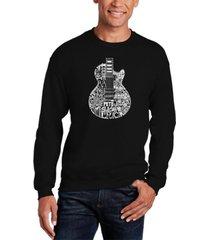 men's rock guitar head word art crewneck sweatshirt