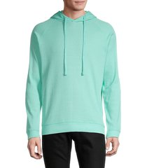 trunks surf + swim men's waffle drawstring hoodie - bright teal - size m