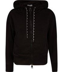 moncler back logo zipped hoodie