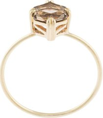 natalie marie 9kt yellow gold hexagon smokey quartz ring