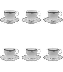 jogo 6 xícaras para chá noritake buckingham platinum