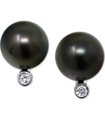cultured tahitian pearl (10mm) & diamond accent stud earrings in 14k white gold