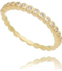 anel drusi esferas fino com zircã´nias dourado - amarelo/dourado/multicolorido - feminino - dafiti