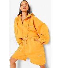 oversized korte hoodie met tekst en rits, mustard