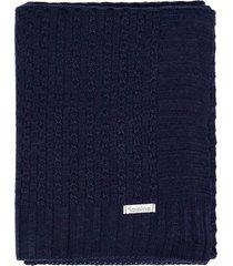 manta cobertor de berã§o tricã´ tamine luxo azul marinho - azul marinho - dafiti