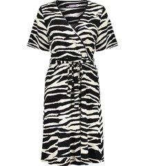 geisha 17130-20 999 jurk zebra & strap at waist s/s black/sand combi