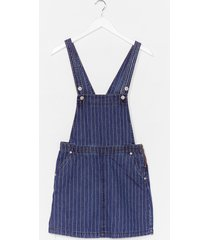 womens be stripe back denim overall dress - blue