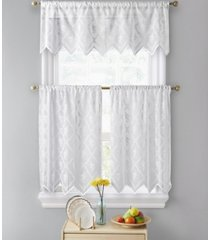 """lumino by hlc. me melbourne floral sheer lace voile rod pocket cafe tiers - 30"""" x 24"""" / set of 2 tiers"""