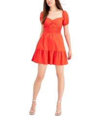 bar iii solid smocked-waist poplin mini dress, created for macy's