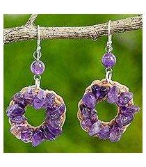 amethyst dangle earrings, 'purple summer' (thailand)