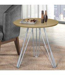 mesa de canto pé prateado c&m decor laca off white