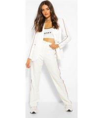 getailleerde contrast broek met rechte pijpen, white