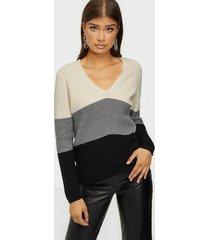 calvin klein ls color block sweater stickade tröjor