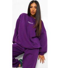 petite oversized geborduurde official sweater, purple