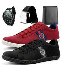 kit 2 pares de sapatênis casual dhl polo masculino vermelho e preto + relógio + cinto + carteira