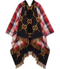 gucci reversible gg wool poncho - red