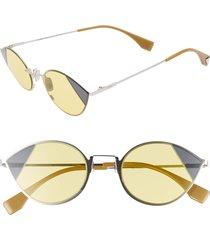 women's fendi 51mm aviator sunglasses - silver/ gold