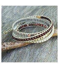 jasper and quartz wrap bracelet, 'natural instinct' (thailand)