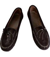 zapatos en cuero dama mujer apache mocasines baletas café