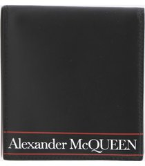 alexander mcqueen bifold wallet in leather with contrasting logo print