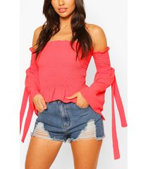 woven shirred tie sleeve top, coral