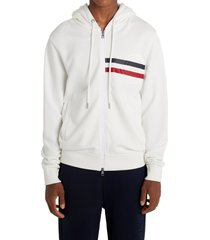 men's moncler logo embossed stripe cotton hoodie, size medium - white