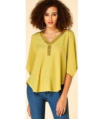 yoins blusa con cuello en v de diseño hueco adornado con encaje de ganchillo amarillo