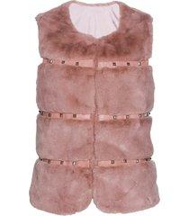 gilet in pelliccia sintetica con borchiette (rosa) - bpc selection premium