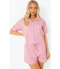 mix & match lichte gingham pyjama shorts, pink
