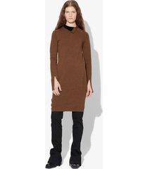 proenza schouler merino knit long sleeve dress medium brown melange combo m