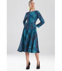 natori cheetah crepe top stitch dress, women's, size 8