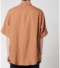 ami men's summer fit short sleeve shirt - brown - 39/m