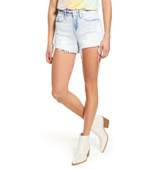 women's blanknyc the barrow allstar patch high waist denim shorts, size 29 - blue