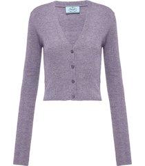prada knitted button-front cardigan - neutrals