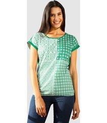shirt laura kent groen::wit