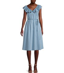 french connection women's sisay chambray belted dress - light blue - size 4
