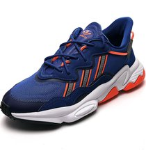 tenis lifestyle azul-naranja-negro adidas originals ozweego