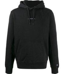 calvin klein jeans logo-embroidered hooded sweatshirt - black