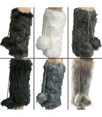 women's faux fur leg warmers furry fuzzy boots with pom poms cuff dance us new