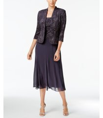 alex evenings sleeveless jacquard sparkle dress and jacket