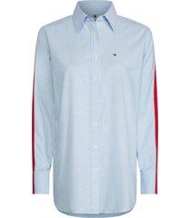 camisa manga larga azul con bandas laterales tommy hilfiger