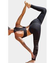 active cut out hollow design elastic waist sports leggings