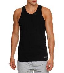 kit 2 camisetas de cotton regata - preto - s